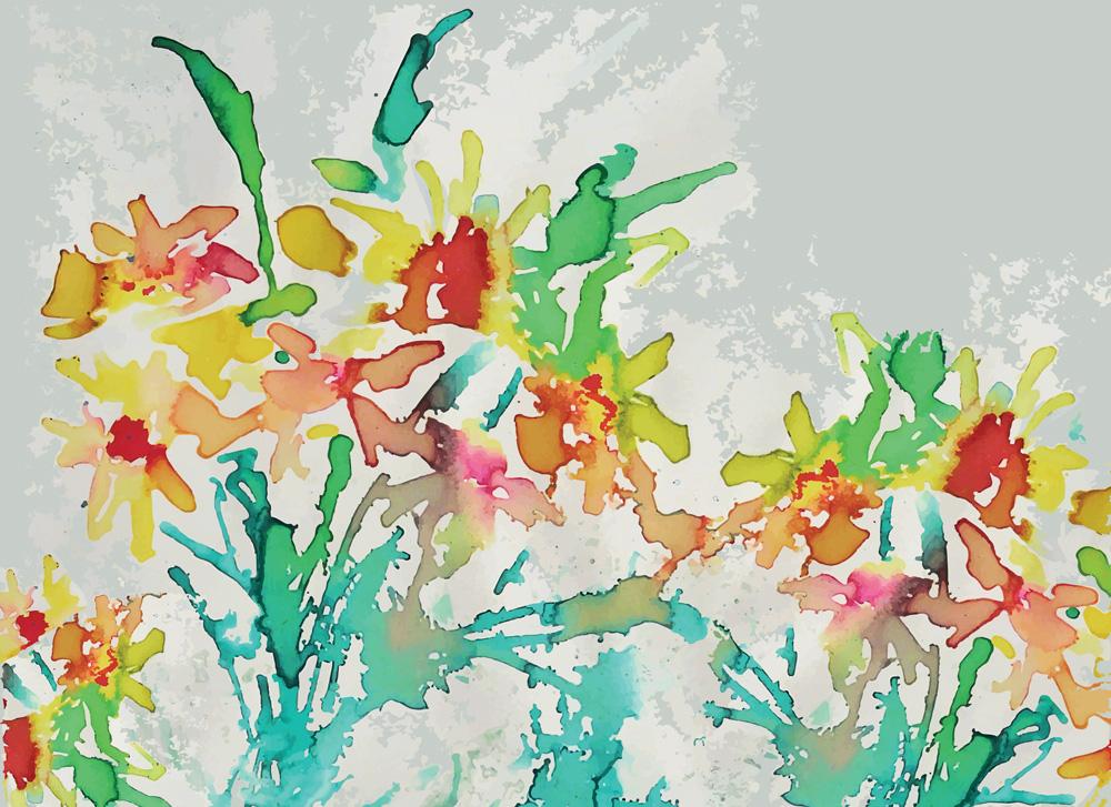 carta effetto fiori colorati ad acquarello
