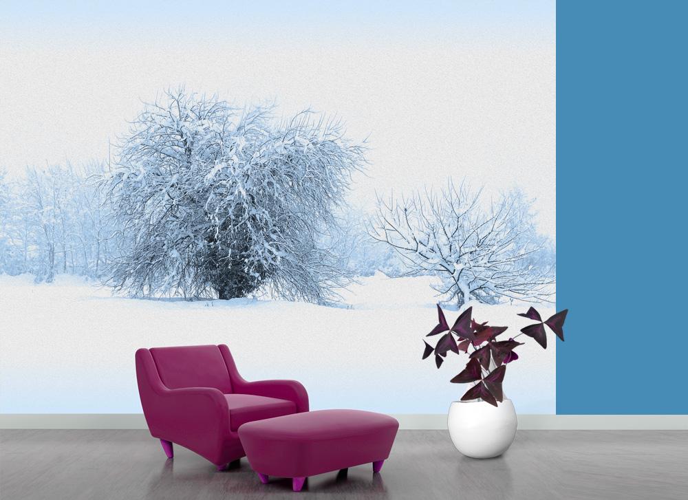 paesaggio di neve effetto pittura a olio