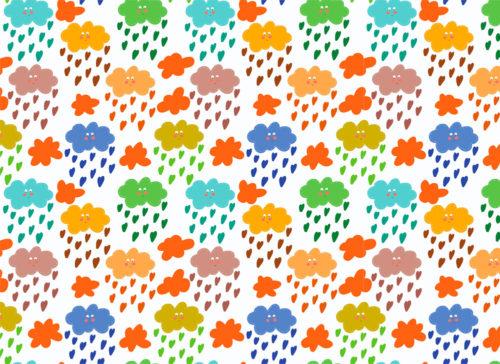 carta nuvolette colorate con pioggia di cuoricini