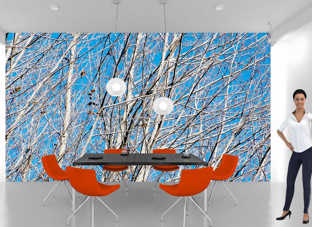 rami su sfondo azzurro per camera da letto e soggiorno