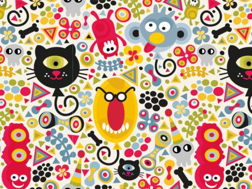 carta da parati con tanti piccoli mostri colorati