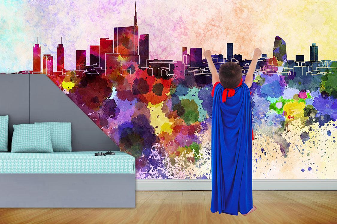 carta da parati personalizzata per la camera del tuo bambino. Uno skyline allegro e colorato!