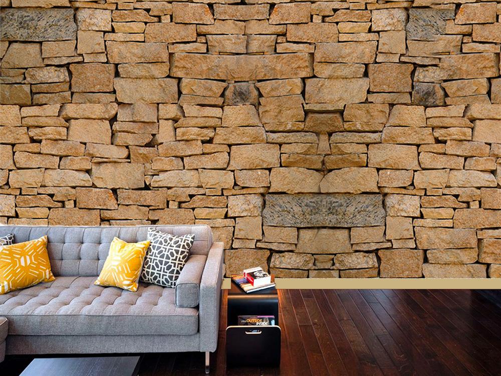muro rustico per il soggiorno, un'idea di grande effetto