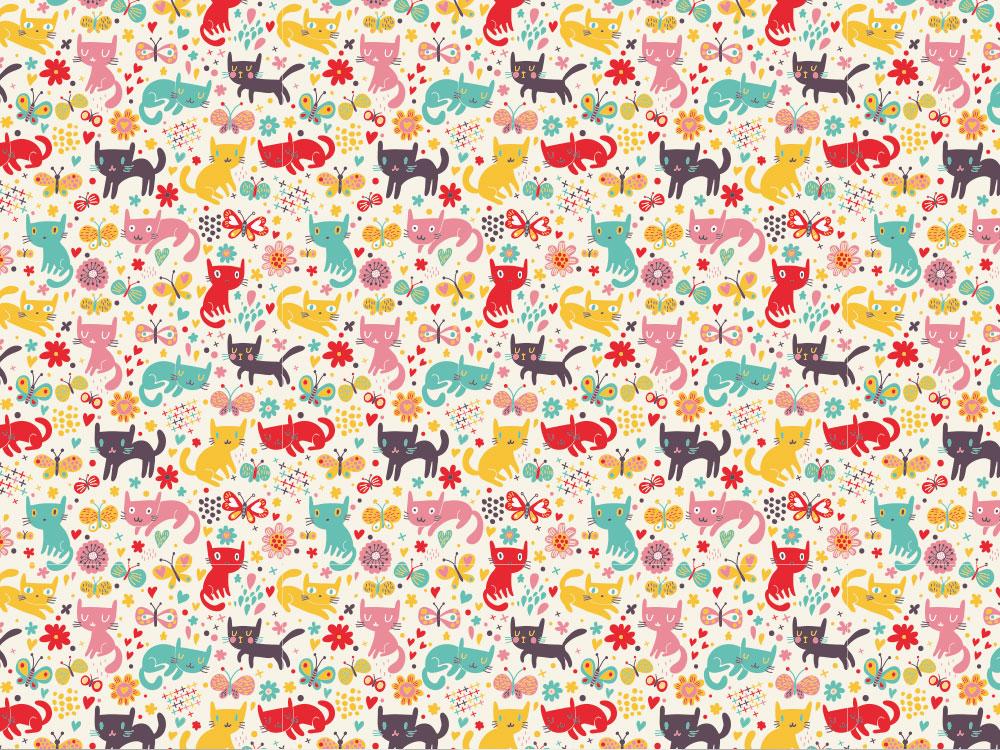 gattini, fiorellini, farfalle e cuoricini colorati per una carta allegra e simpatica