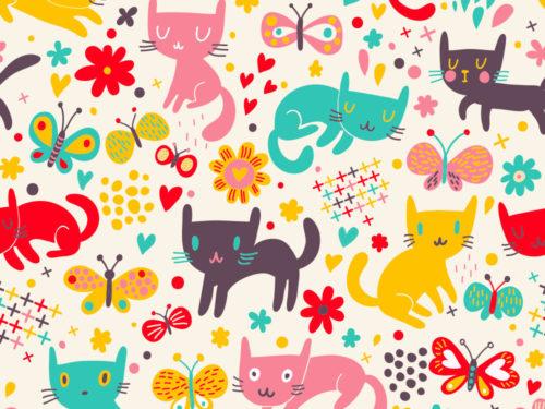 tanti gattini colorati per una carta allegra e simpatica