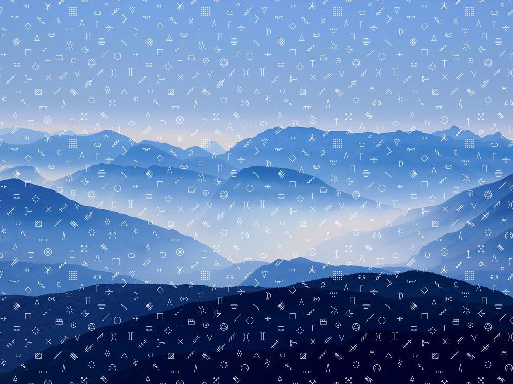 simboli orienteering su sfondo di montagne